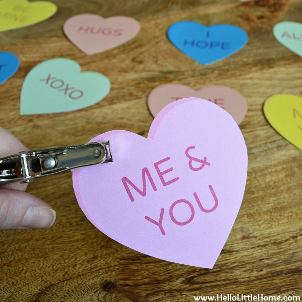DIY Conversation Heart Banner: Punch Holes in the Hearts | Hello Little Home