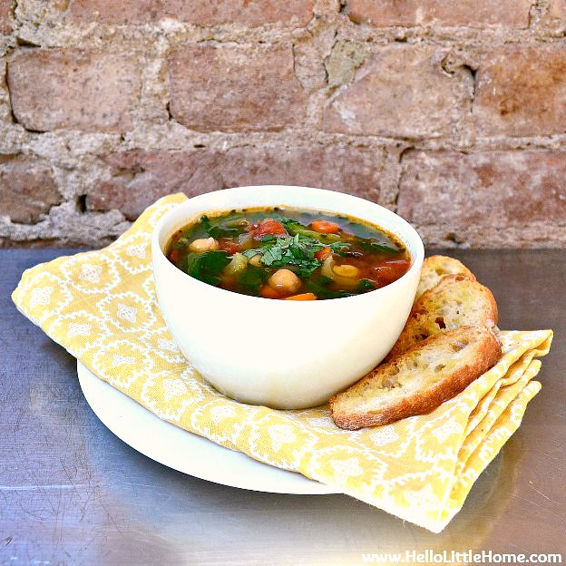 A Bowl of Kale and Chickpea Soup.