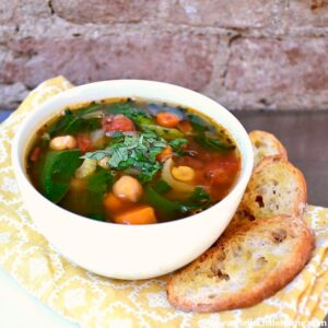 Kale and Chickpea Soup served with Crunchy Garlic Toasts