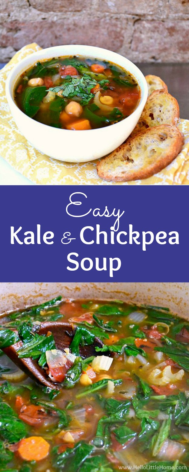 Delicious Kale and Chickpea Soup recipe … the perfect vegetarian soup recipe for a cold winter day! This healthy vegan Chickpea Soup is simple to make and packed with veggies: kale, carrots, tomatoes, and more! Serve this easy Italian Chickpea Soup with crunchy Garlic Toasts for a healthy meatless meal. Great for a clean eating diet … gluten free, too! | Hello Little Home #vegansoup #glutenfreesoup #chickpeassoup #healthysoup #kalerecipe #vegetablesoup #glutenfree #vegan #vegetarian