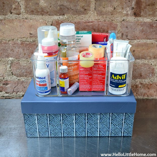 Hall Closet Makeover: Organizing the First Aid Kit | Hello Little Home
