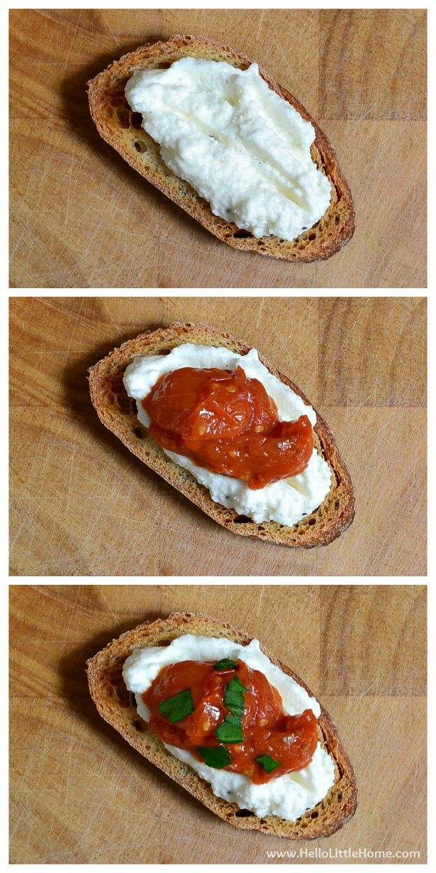 Assemble Pan-Roasted Tomato & Ricotta Bruschetta | Hello Little Home #appetizer #recipe