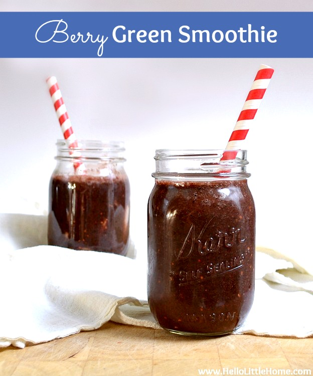 Berry Green Smoothie recipe … this healthy green smoothie makes a delicious breakfast, snack, or meal replacement! Learn how to make a simple green smoothie that tastes good with bananas, berries such as strawberries, raspberries, or blackberries, green tea, spinach, and a pear. This is the best green smoothie and it's perfect for a gluten-free, clean eating diet! | Hello Little Home #greensmoothie #smoothie #smoothierecipe #berries #berrygreensmoothie #drinkrecipes