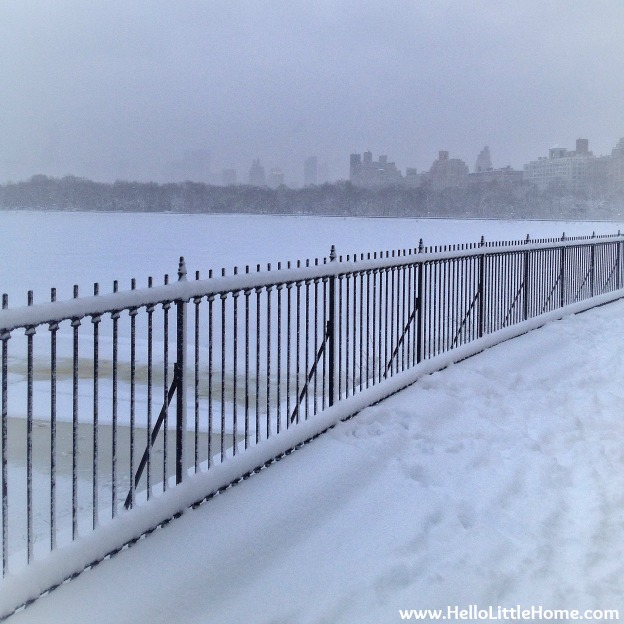 Snowy Central Park Reservoir Path | Hello Little Home