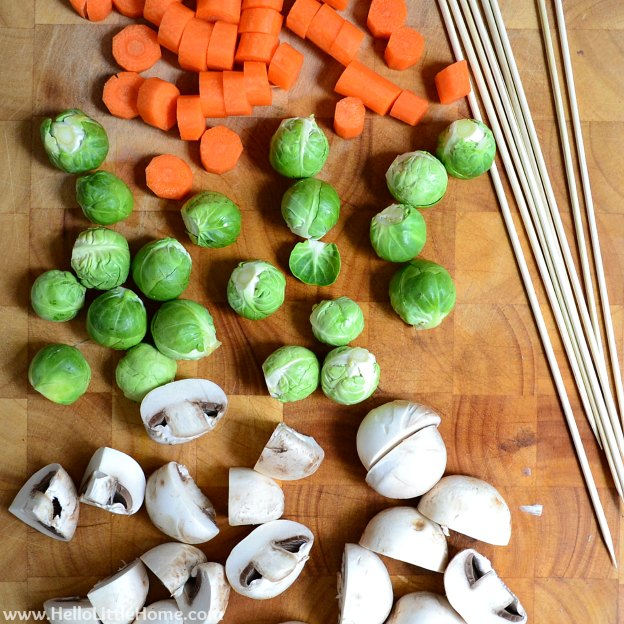Chop Veggies for Kabobs | Hello Little Home