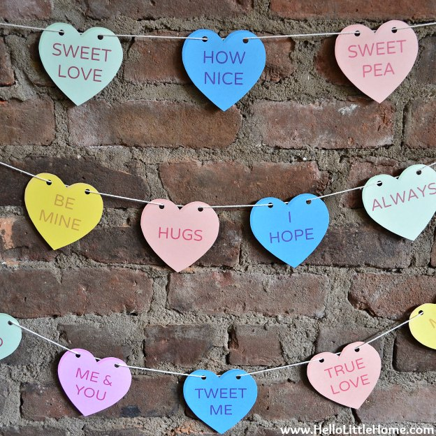 Valentine's Day Decor Around My Home: Conversation Heart Banner | Hello Little Home