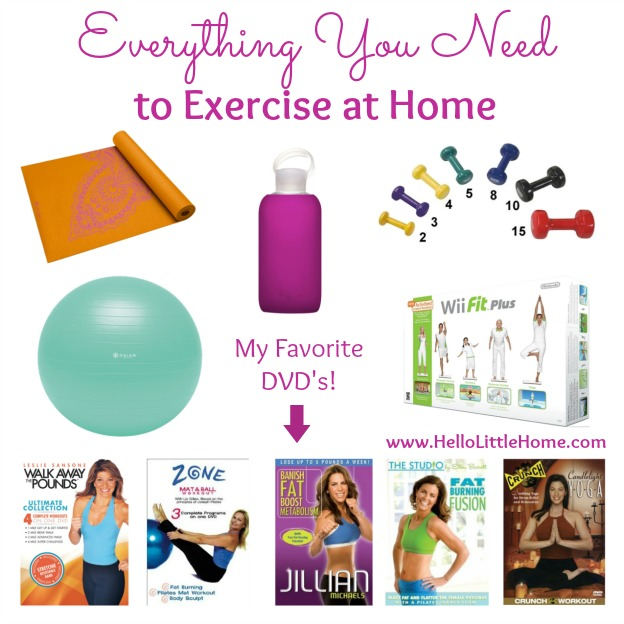 At Home Workout Essentials for Women! Everything you need to start a simple exercise routine at home. These simple fitness tools will help you create a basic home gym perfect for full body workouts and weight loss! | Hello Little Home