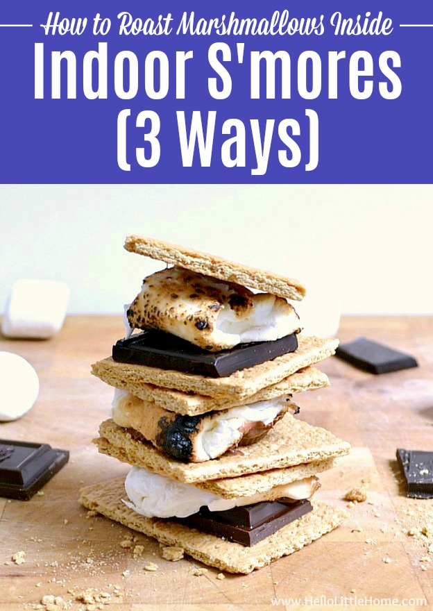 A stack of indoor s'mores on a cutting board.