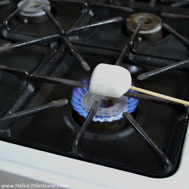Roasting Marshmallow on Stove for Indoor S'mores | Hello Little Home
