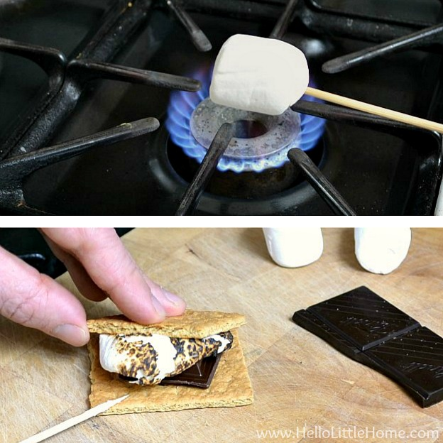 A photo collage showing how to roast marshmallows on the stove inside.