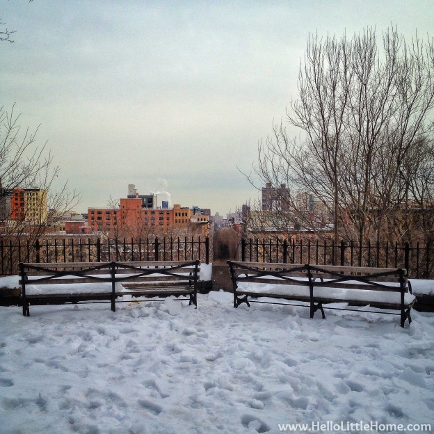 Snowy NYC Skyline View | Hello Little Home