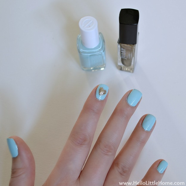 Valentine's Day DIY Heart Manicure | Hello Little Home