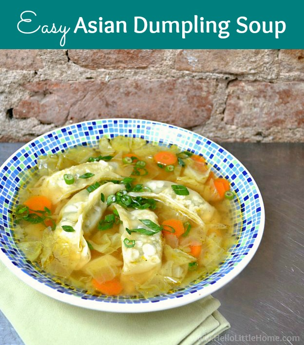 Easy Asian Dumpling Soup recipe! Learn how to make Asian Dumpling. This quick, delicious Chinese Dumpling Soup is ready in minutes. It's a healthy weeknight dinner and a great way to warm up on cold winter days. Your whole family will love this vegan / vegetarian Asian Soup recipe made with frozen dumplings, cabbage, soy sauce, sesame oil, and broth … make it spicy if you want. | Hello Little Home