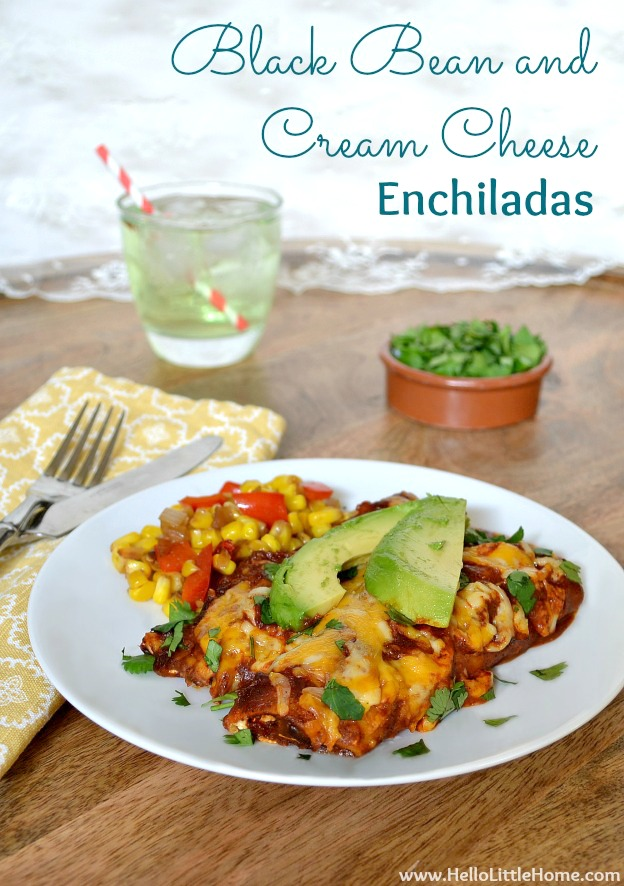 Black Bean and Cream Cheese Enchiladas | Hello Little Home #Mexican #Recipe