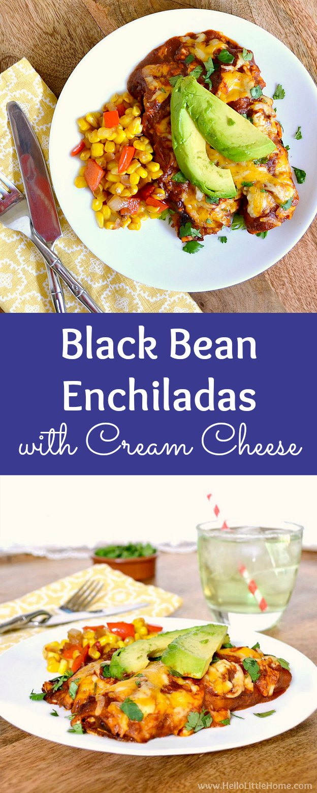 Black Bean Enchiladas with Cream Cheese, the BEST vegetarian Black Bean Enchiladas recipe! These easy Black Bean Enchiladas are creamy + cheesy. Make these baked vegetarian enchiladas with simple ingredients: refried black beans, cream cheese, corn tortillas, and homemade vegan enchilada sauce. This vegetarian Mexican recipe is total comfort food - perfect for Meatless Monday! | Hello Little Home #enchiladas #blackbeans #blackbeanenchiladas #enchiladasauce #mexicanrecipes #vegetarianrecipes