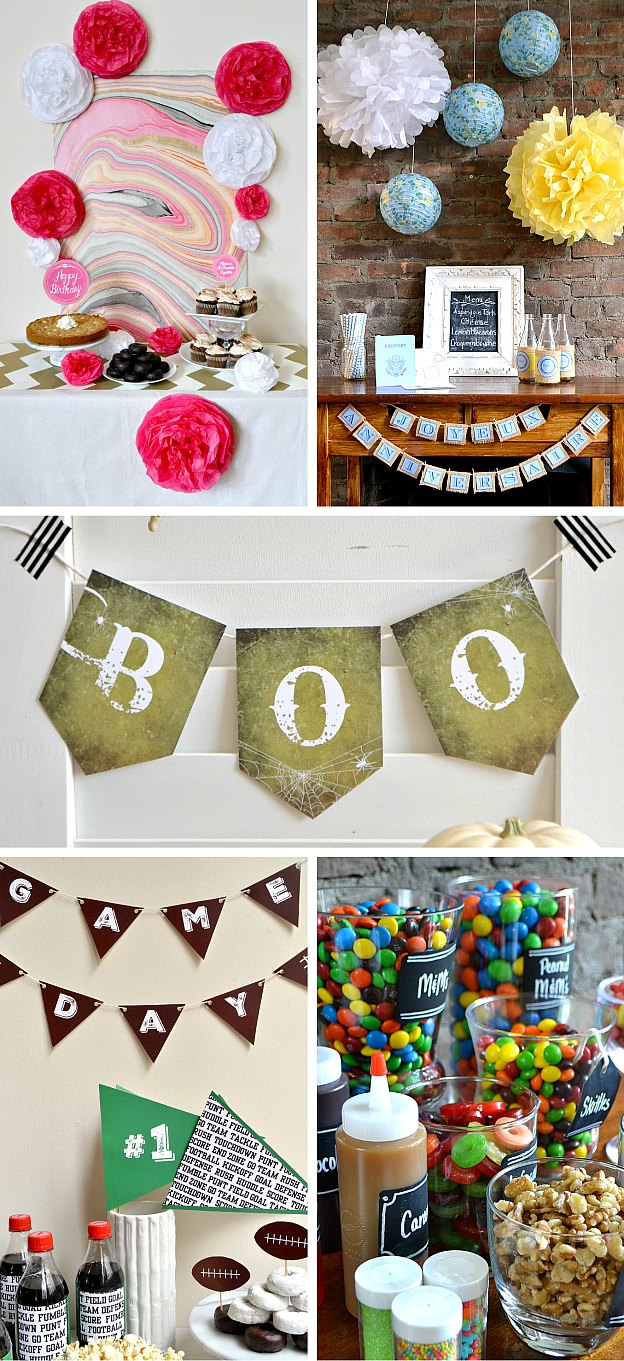 DIY Party Ideas and Tutorials ... everything you need to throw a festive party! Tons of fun ideas for throwing a party at home: Birthday, Halloween, Cinco de Mayo, Game Night, and more fun party ideas. From decorations to food, plus lots of free printables, too! | Hello Little Home