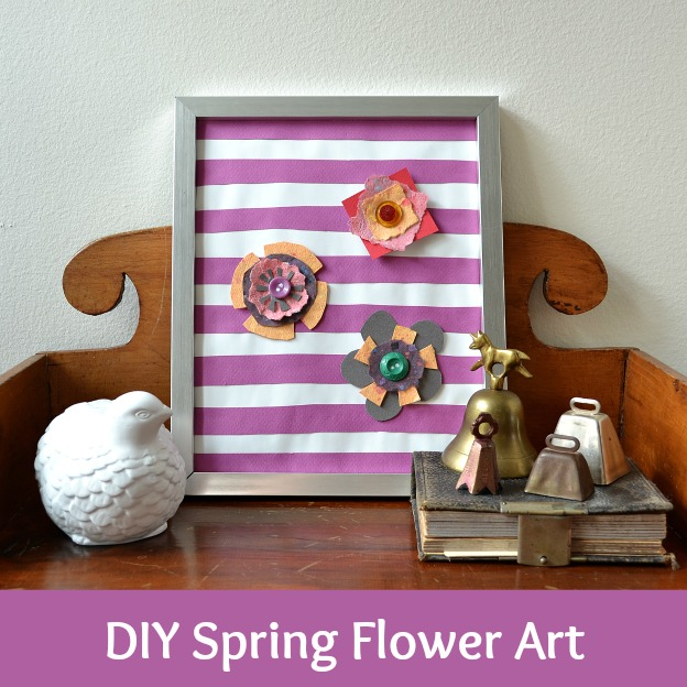 DIY Spring Flower Art | Hello Little Home #craft #stripes #flowers
