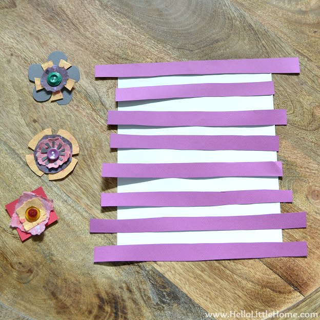 DIY Spring Flower Art: Adding the Stripes | Hello Little Home #craft #flowers