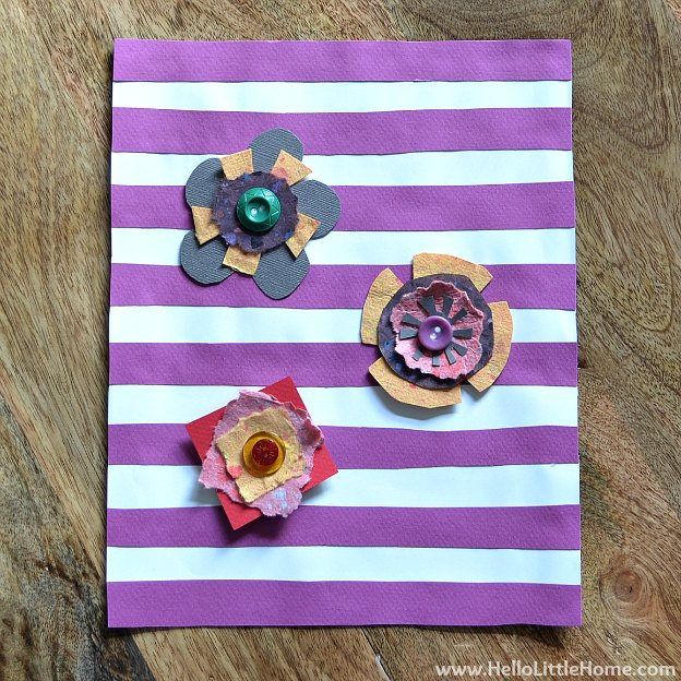 DIY Spring Flower Art | Hello Little Home #craft #flowers #stripes
