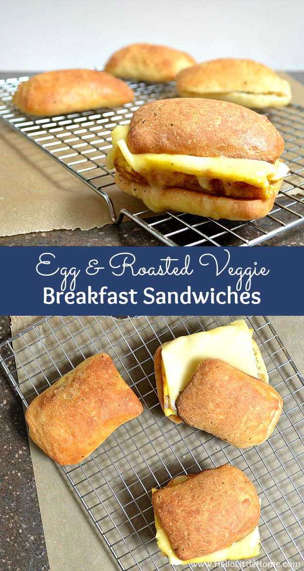 Egg and Roasted Veggie Breakfast Sandwiches ... wake up to this delicious and easy to make vegetarian breakfast recipe! | Hello Little Home