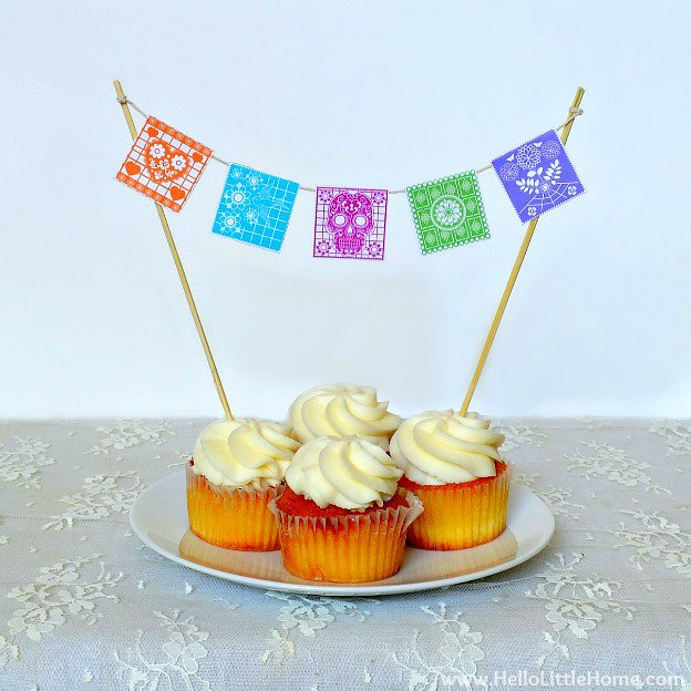 Fiesta-Themed Birthday Party: Mini Bunting Cupcake / Cake Topper | Hello Little Home #banner #printable