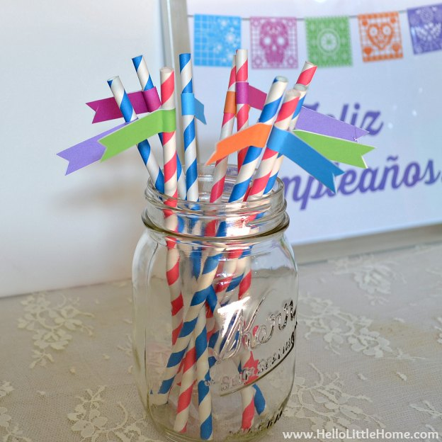 Fiesta-Themed Birthday Party: Straw Flags | Hello Little Home #printable