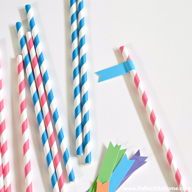 DIY Fiesta Birthday Party with free printables! Celebrate someone special with these free printable straw flags and more! Perfect for birthday parties and other festive occasions, like Cinco de Mayo! | Hello Little Home