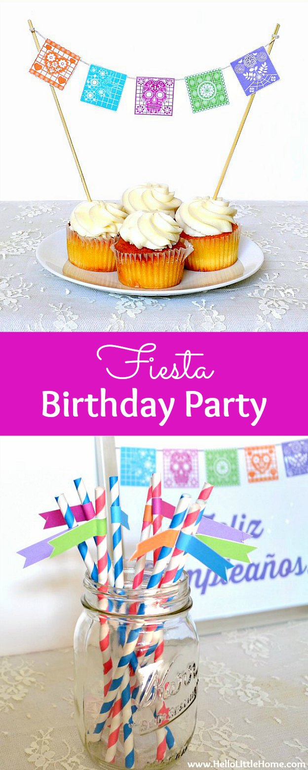 DIY Fiesta Birthday Party with free printables! Celebrate someone special with this free printable bunting, bottle wraps, straw flags, and more! Perfect for birthday parties and other festive occasions, like Cinco de Mayo! | Hello Little Home