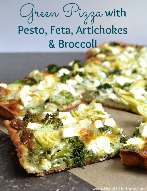 Green Pizza with Pesto, Feta, Artichokes & Broccoli | Hello Little Home