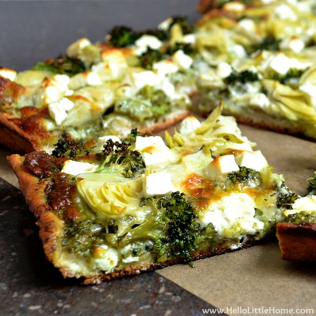 Green Pizza with Pesto, Feta, Artichokes & Broccoli | Hello Little Home