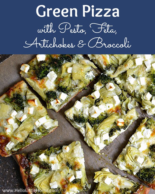 Green Pizza with Pesto, Feta, Artichokes, and Broccoli ... a delicious vegetarian pizza recipe! This easy veggie pizza recipe makes a great weeknight dinner idea! | Hello Little Home