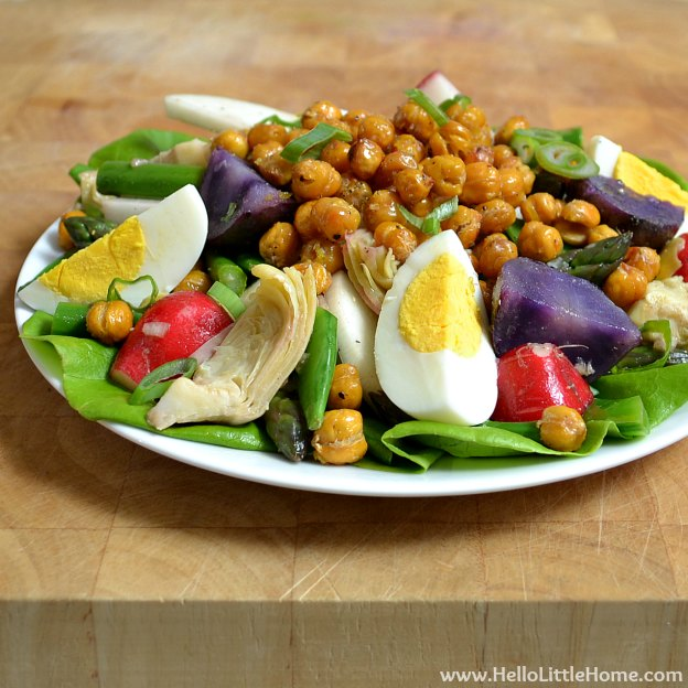 Spring Vegetable Salad with Lemon-Basil Vinaigrette & Roasted Chickpeas | Hello Little Home #salad #vegetarian #recipe