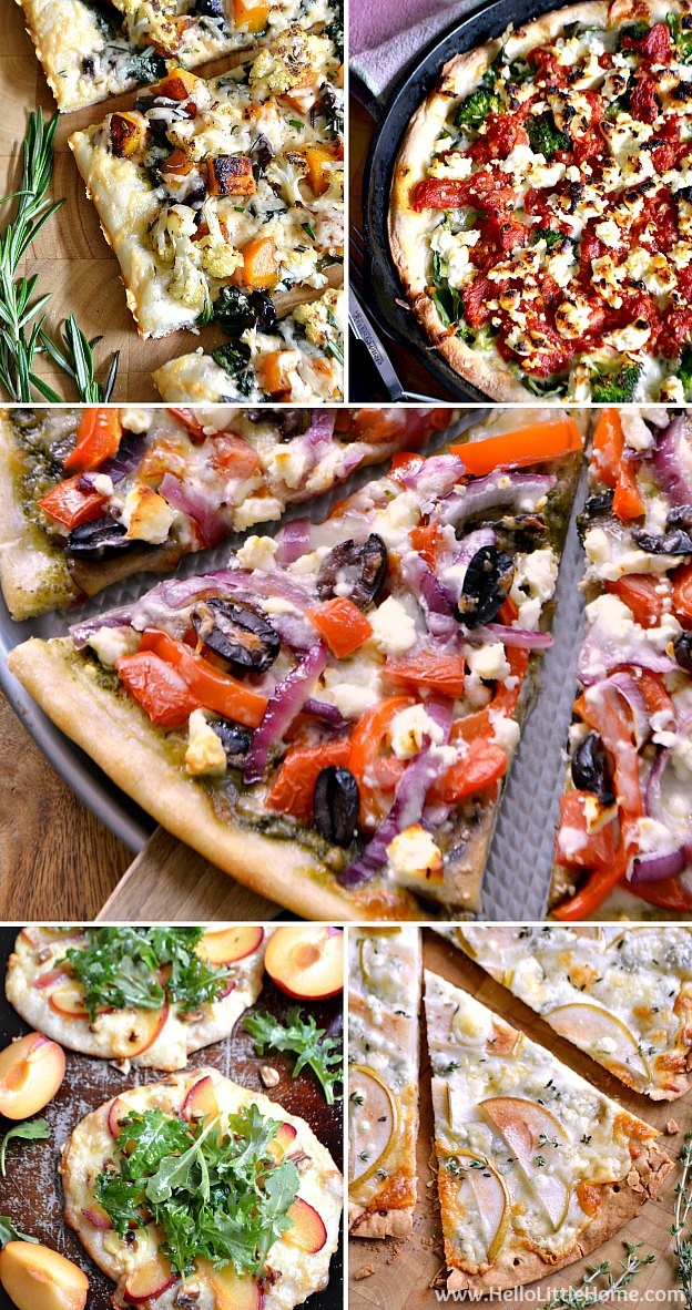 The BEST Vegetarian Pizza Recipes ... the most delicious and easiest pizza recipes! Packed with vegetables, ooey gooey cheese, and tons of flavor, you'll whole family will love these amazing veggie pizza recipes! | Hello Little Home
