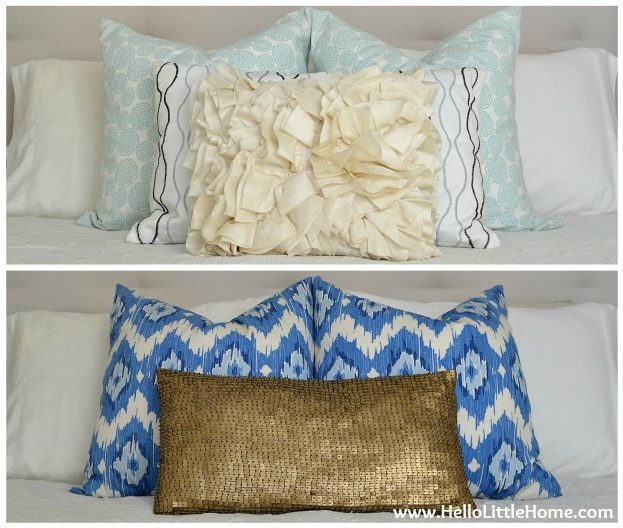 Swapping out pillows on a bed for different looks.
