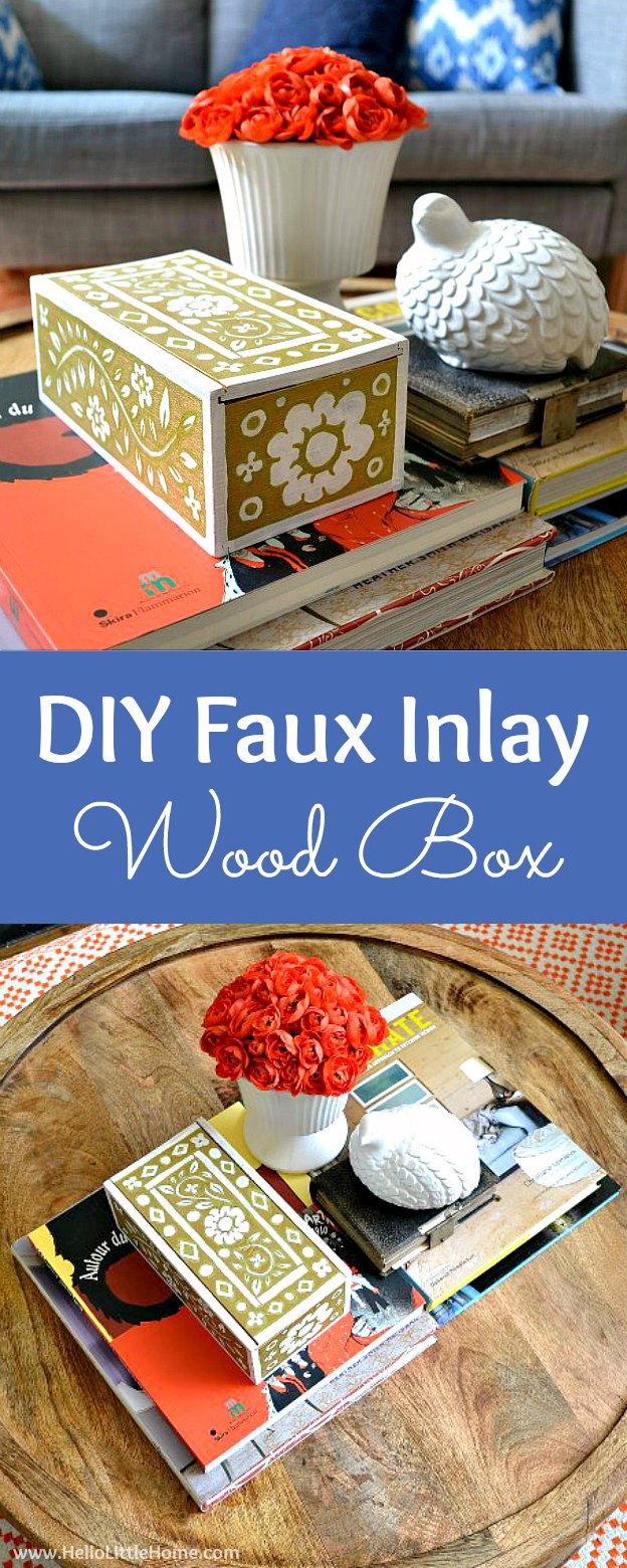 DIY Faux Inlay Box! Learn a fun decorative painting technique for creating a faux mother of pearl inlay on furniture, boxes, coffee tables, and other decorative items! Perfect for updating vintage pieces! | Hello Little Home