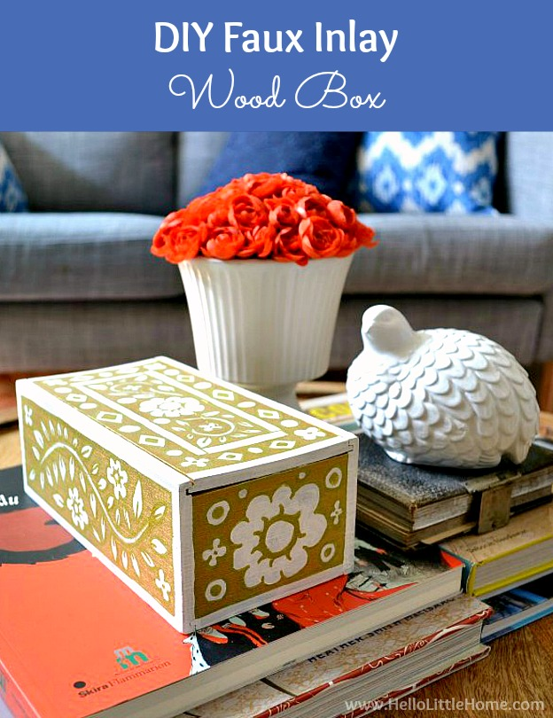 DIY Faux Inlay Box! Learn a fun decorative painting technique for creating a faux mother of pearl inlay on furniture, boxes, coffee tables, and other decorative items! Perfect for updating vintage pieces!   Hello Little Home