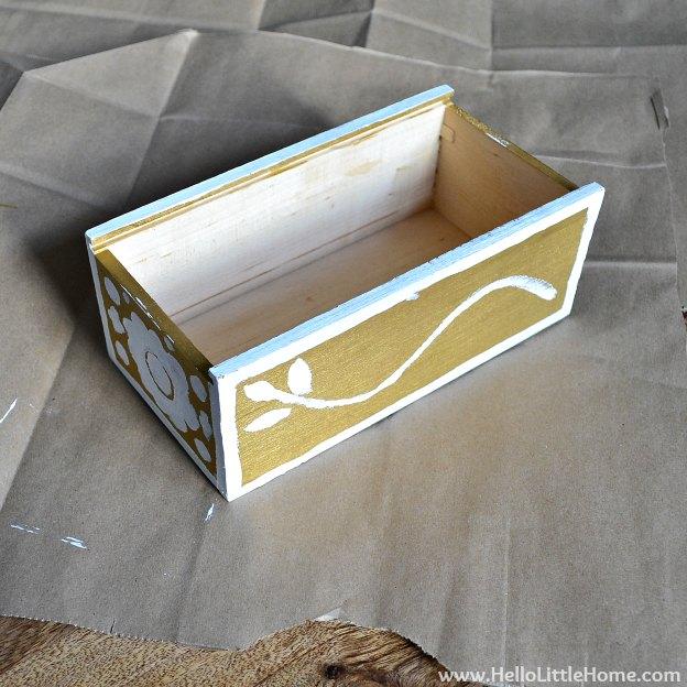 DIY Faux Inlay Box: Paint Patterns on Box | Hello Little Home #craft #DIY