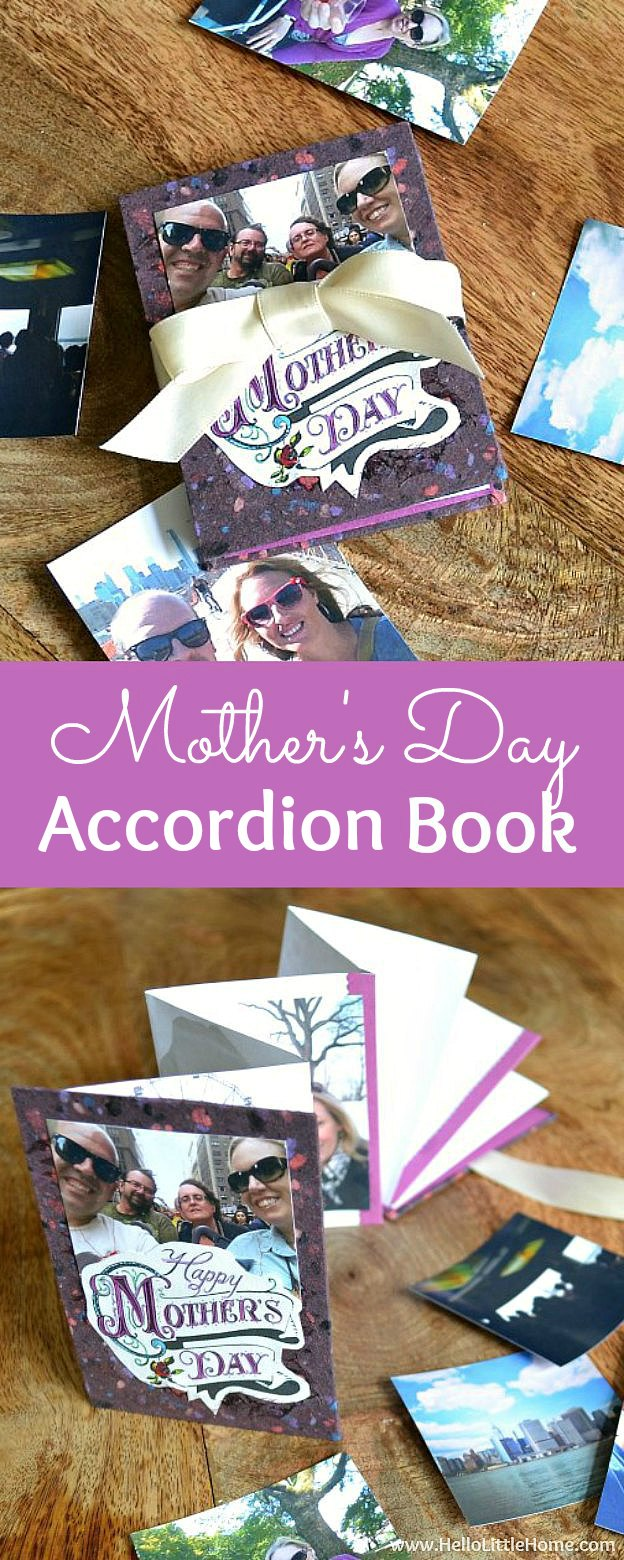 DIY Mother's Day Accordion Book ... surprise your mom with an easy handmade book filled with personal mementos! Follow this easy bookbinding tutorial and learn how to make a mini accordion book. This easy project is perfect for beginners and kids who want to create a one-of-a-kind DIY gift for Mother's Day! | Hello Little Home
