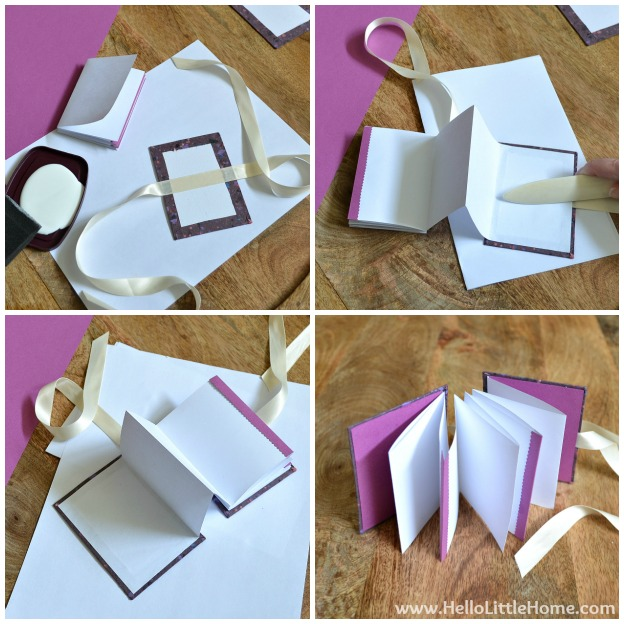 DIY Mother's Day Accordion Book: Attaching the Pages to the Cover | Hello Little Home #bookmaking #craft #bookbinding
