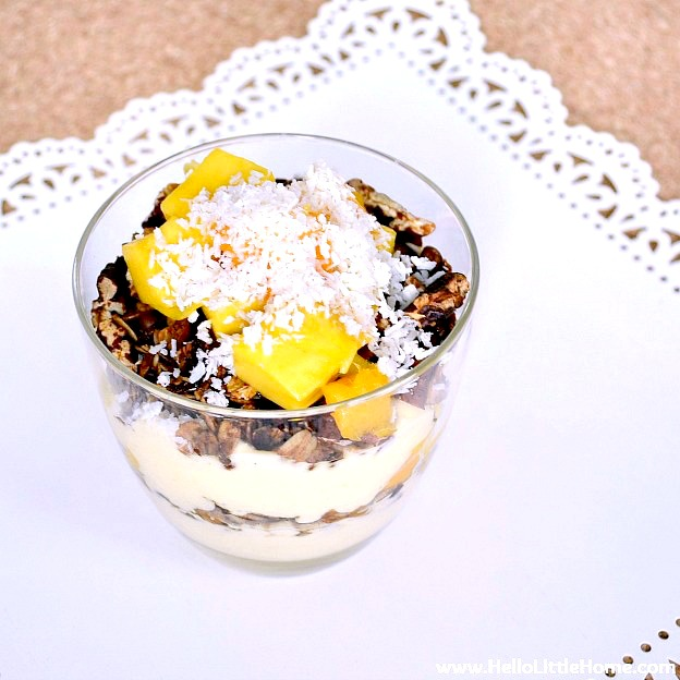A tasty layered Mango Yogurt Breakfast Parfait.