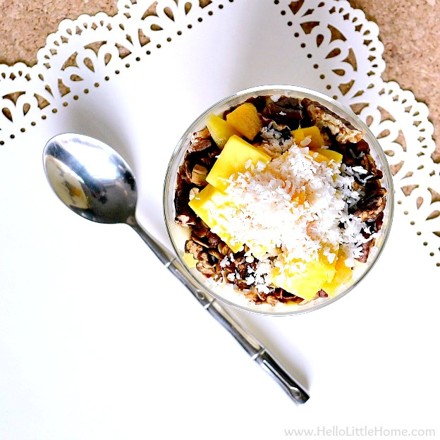 A Mango Yogurt Parfait sprinkled with shredded coconut.