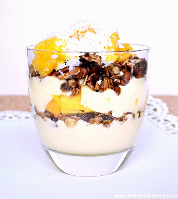 An easy to make Mango Yogurt Breakfast Parfait.