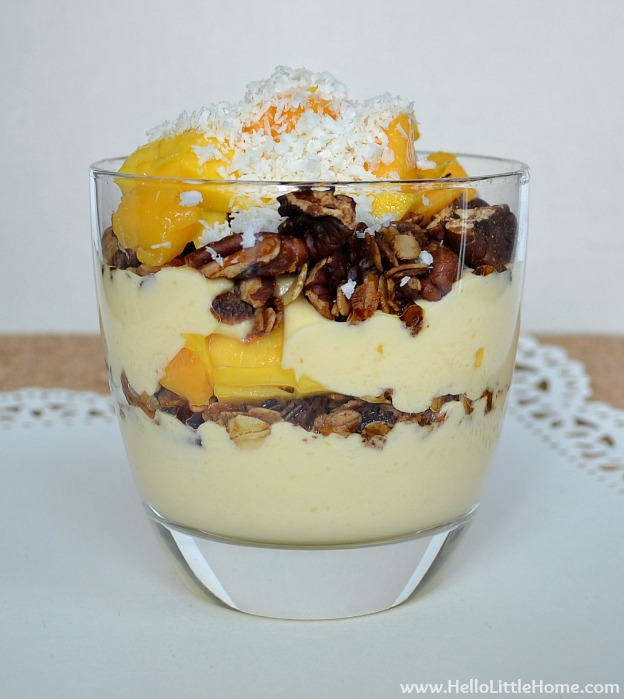 150+ Vegetarian Easter Recipes that are perfect for your holiday dinner or brunch, including this Mango Yogurt Breakfast Parfait! Find tons of vegetarian and vegan recipe ideas - from healthy appetizers to decadent desserts - that your whole family will love! Hello Little Home