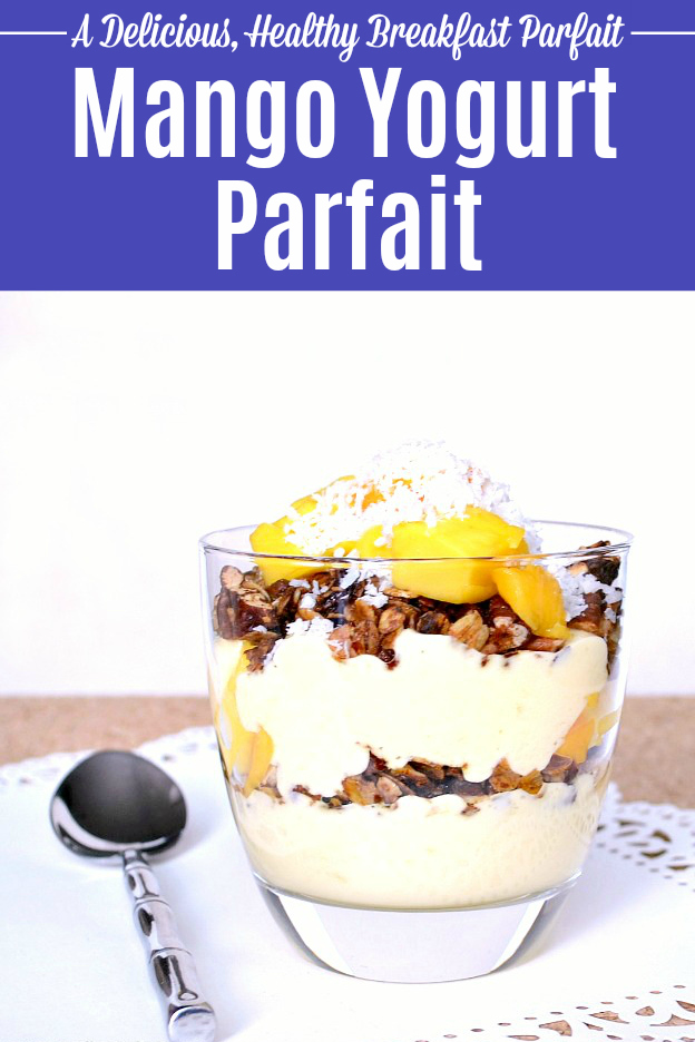 Wake up to this delicious Mango Parfait recipe! Treat yourself to a healthy Mango Yogurt Parfait. This gluten free Mango Parfait features layers of mango-flavored yogurt, homemade granola, fresh mango chunks, and a sprinkle of coconut. This easy Breakfast Parfait can be made ahead for busy mornings, or you can assemble this Fruit and Granola Parfait at breakfast time. | Hello Little Home #parfait #yogurtparfait #mango #mangoparfait #breakfast #breakfastrecipes #breakfastlovers #granola #coconut