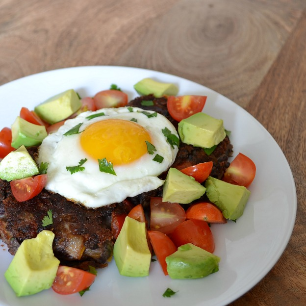 Spicy Black Bean Cakes with Egg, Avocado & Tomato
