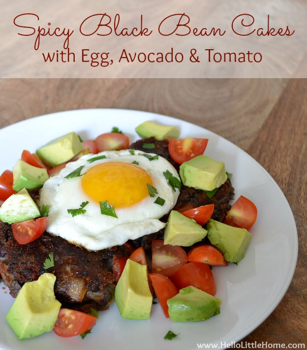 Spicy Black Bean Cakes recipe with Egg, Avocado & Tomato ... makes a delicious and easy vegetarian breakfast! | Hello Little Home #recipe #breakfast