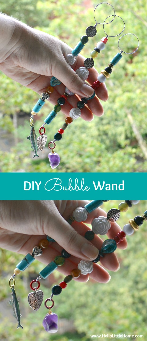 This DIY Bubble Wand is an easy and super fun project that will keep your kids busy all summer! | Hello Little Home
