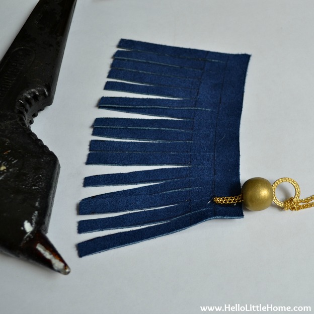 DIY Suede Tassels: Attaching the Chain to the Tassel | Hello Little Home