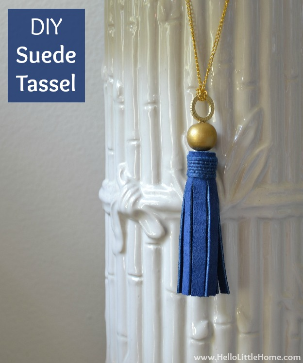 DIY Suede Tassels | Hello Little Home #craft #blue #gold