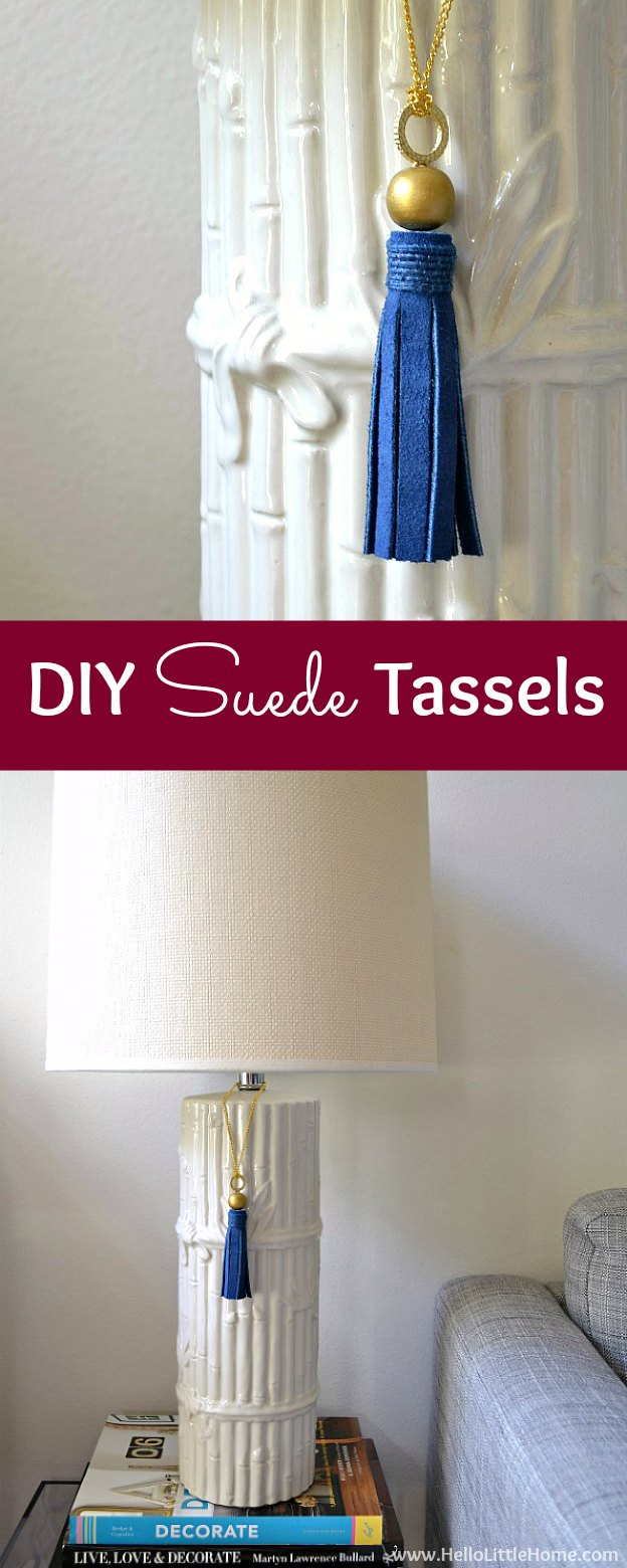 Learn how to make DIY Suede Tassels ... a simple and fun project that can be used for home decor, necklaces, bracelets, and other jewelry! These DIY tassels take minutes to make from suede, leather, and other materials, plus they can be totally customized to your taste! | Hello Little Home